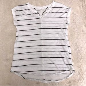 Maurices Striped V-Neck Cap Sleeve Top Size XS